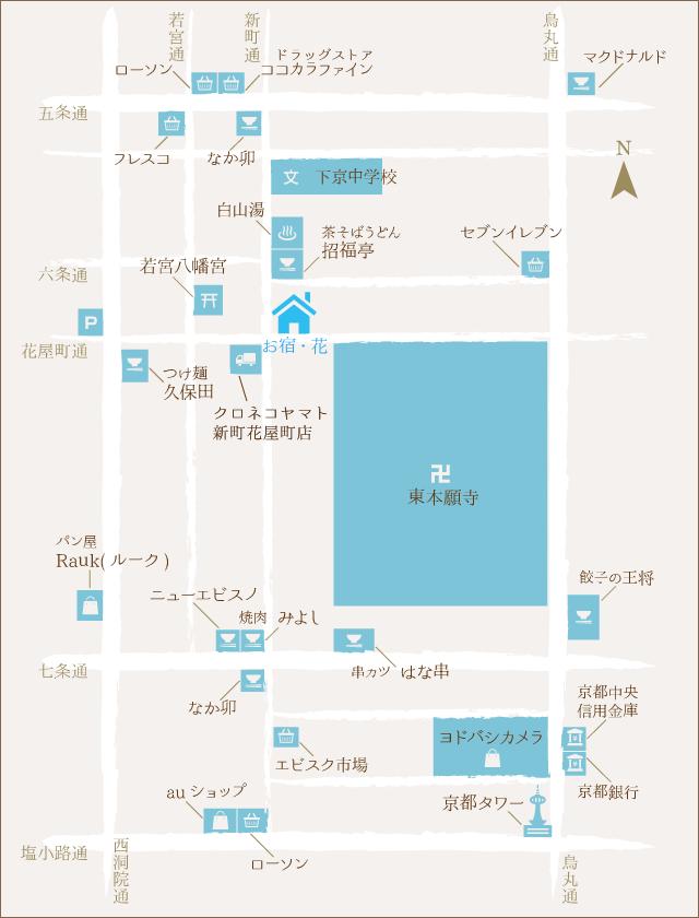 お宿・花の周辺案内マップ
